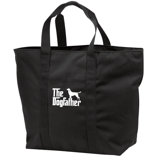 Designs by MyUtopia Shout Out:The Dog Father Embroidered All Purpose Tote Bag,Black/Black / One Size,Reusable Fabric Shopping Tote Bag