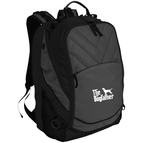 Designs by MyUtopia Shout Out:The Dog Father Embroidered Laptop Computer Backpack,Dark Charcoal/Black / One Size,Backpacks