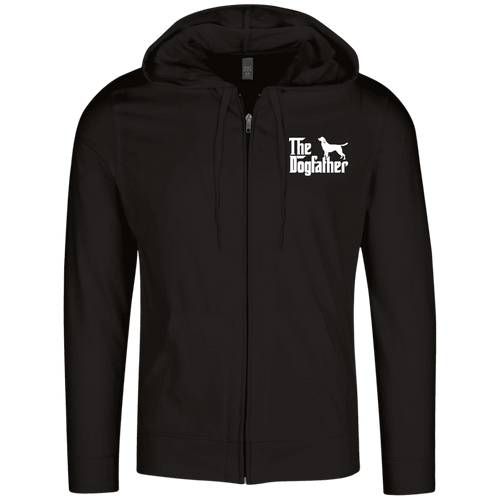 Designs by MyUtopia Shout Out:The Dog Father Embroidered Lightweight Full Zip Hoodie,Black / X-Small,Sweatshirts