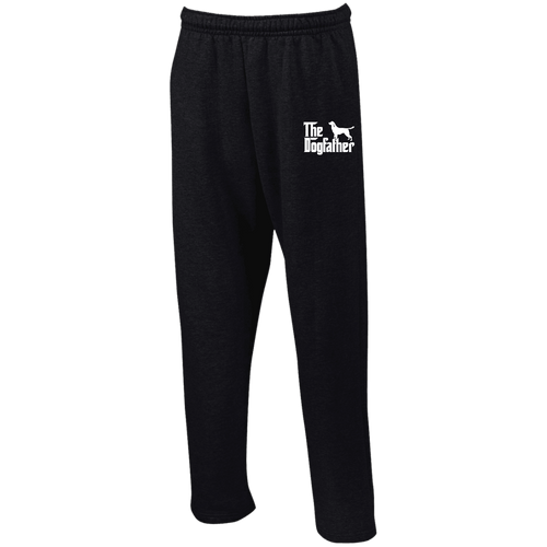 Designs by MyUtopia Shout Out:The Dog Father Embroidered Open Bottom Sweatpants with Pockets,Black / S,Pants