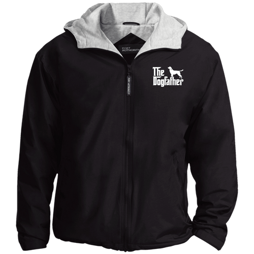 Designs by MyUtopia Shout Out:The Dog Father Embroidered Team Jacket,Black/Light Oxford / X-Small,Jackets