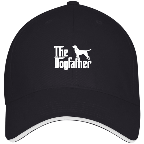 Designs by MyUtopia Shout Out:The Dog Father Embroidered Twill Baseball Cap With Sandwich Visor,Navy/White / One Size,Hats