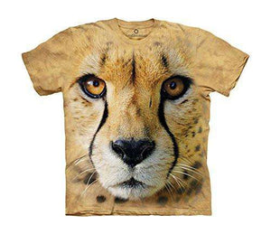 Designs by MyUtopia Shout Out:The Mountain Big Face Cheetah Endanger USA T-Shirt,Sand / Small,Adult Unisex T-Shirt