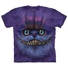Load image into Gallery viewer, Designs by MyUtopia Shout Out:The Mountain Big Face Cheshire Cat T-Shirt,Purple / Small,Adult Unisex T-Shirt