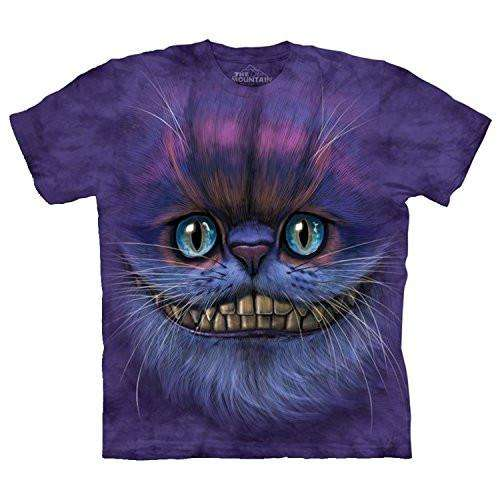 Designs by MyUtopia Shout Out:The Mountain Big Face Cheshire Cat T-Shirt,Purple / Small,Adult Unisex T-Shirt
