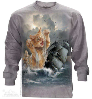 Designs by MyUtopia Shout Out:The Mountain Krakitten T-Shirt,Long Sleeve / Gray / 2X-Large,Adult Unisex T-Shirt