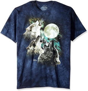 Designs by MyUtopia Shout Out:The Mountain Three Wolf Moon Wearable Art T-Shirt, Blue