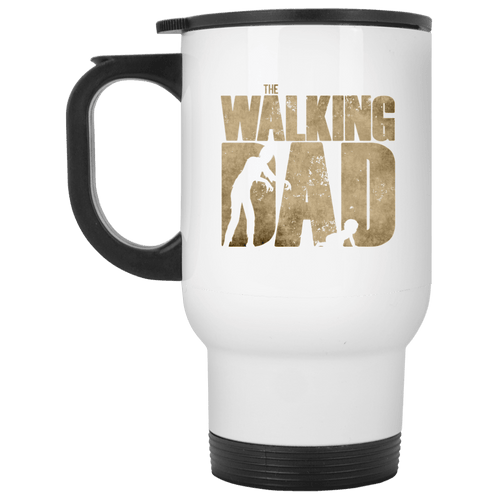 Designs by MyUtopia Shout Out:The Walking Dad 14 oz Stainless Steel Travel Mug,White / One Size,Travel Mug