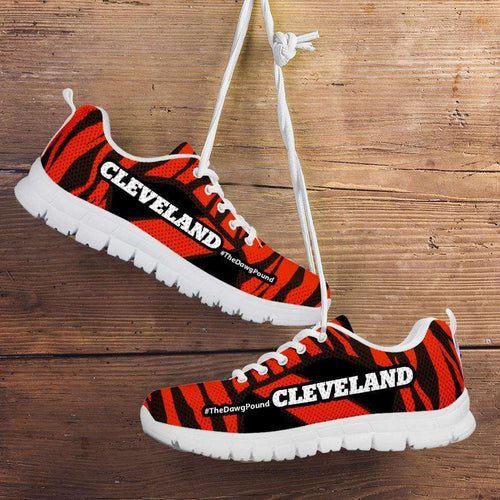 Designs by MyUtopia Shout Out:#TheDawgPound Cleveland Fan Brown / Orange Stripes Mesh Fabric Running Shoes