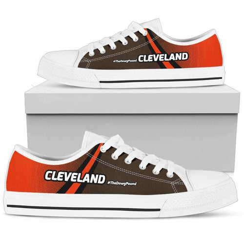 Designs by MyUtopia Shout Out:#TheDawgPound Cleveland Fan Canvas Low Top Shoes,Mens Low Top - White - Men's / US5 (EU38) / Orange / Brown,Lowtop Shoes
