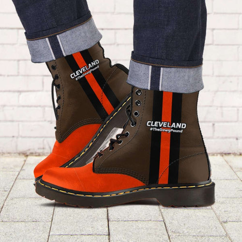 Designs by MyUtopia Shout Out:#TheDawgPound Cleveland Fan Faux Leather 7 Eye Lace-up Boots