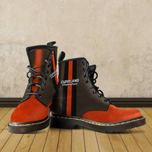 Load image into Gallery viewer, Designs by MyUtopia Shout Out:#TheDawgPound Cleveland Fan Faux Leather 7 Eye Lace-up Boots