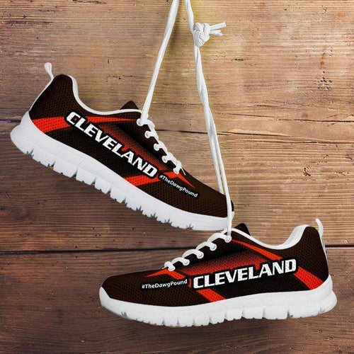 Designs by MyUtopia Shout Out:#TheDawgPound Cleveland Fan Mesh Fabric Running Shoes v2