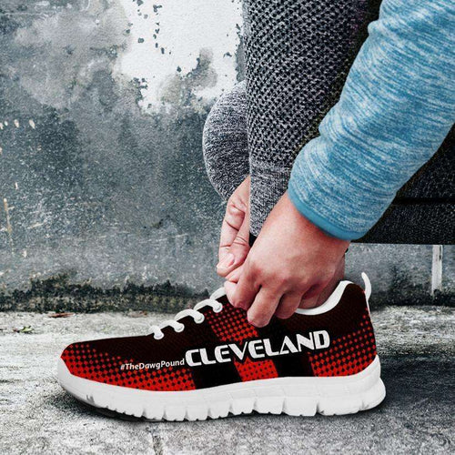 Designs by MyUtopia Shout Out:#TheDawgPound Cleveland Fan Mesh Fabric Running Shoes v3