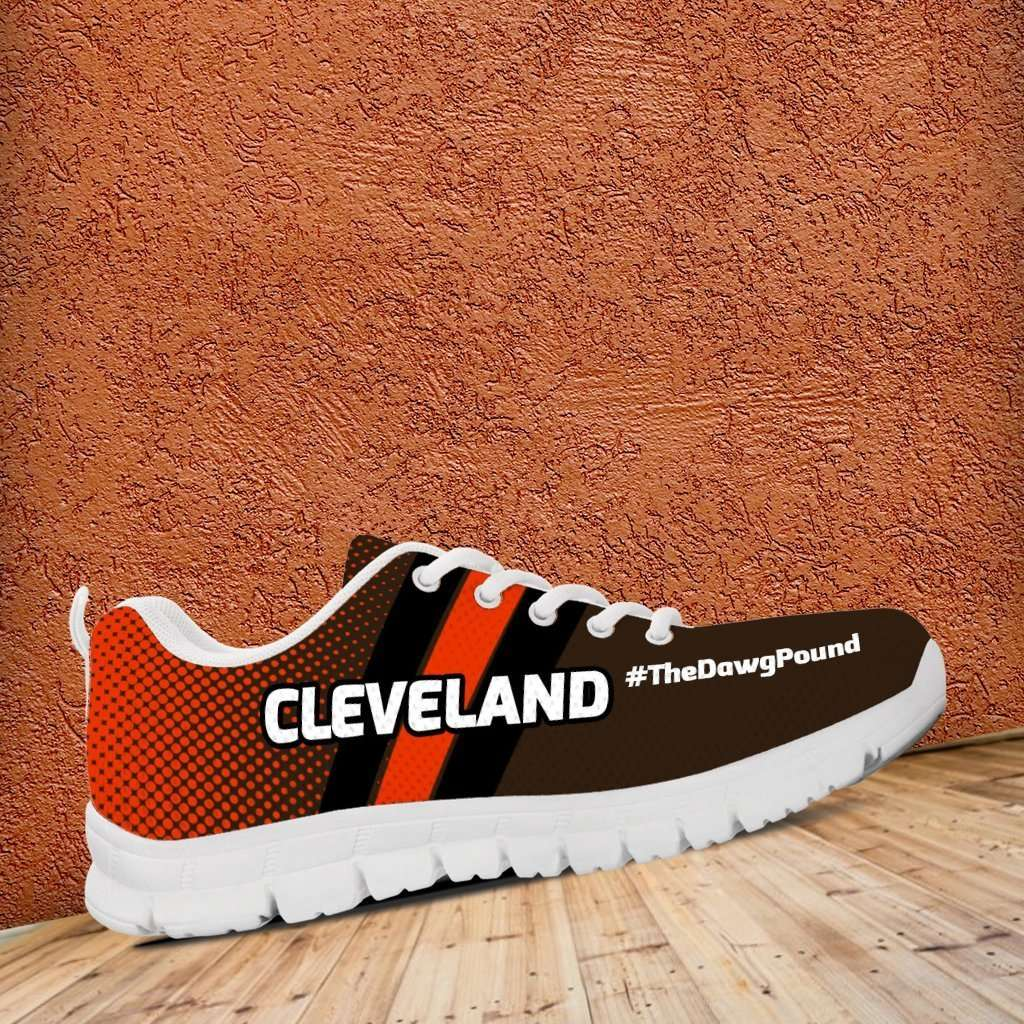 Designs by MyUtopia Shout Out:#TheDawgPound Cleveland Fan Mesh Fabric Running Shoes (White Toe Text)