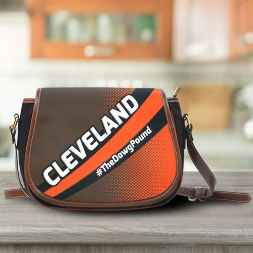 Designs by MyUtopia Shout Out:#TheDawgPound Cleveland Fan Saddlebag Style Canvas Crossbody Purse