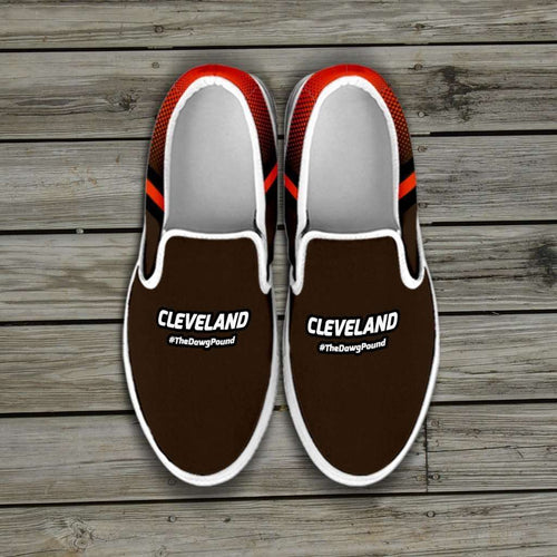 Designs by MyUtopia Shout Out:#TheDawgPound Cleveland Fan Slip-on Sneakers,Men's US8 (EU40) / Brown,Slip on sneakers