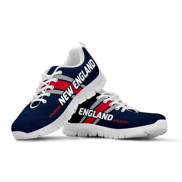 Designs by MyUtopia Shout Out:#TheNation New England Fan Running Shoes,Kid's / 11 CHILD (EU28) / Nautical Blue,Running Shoes