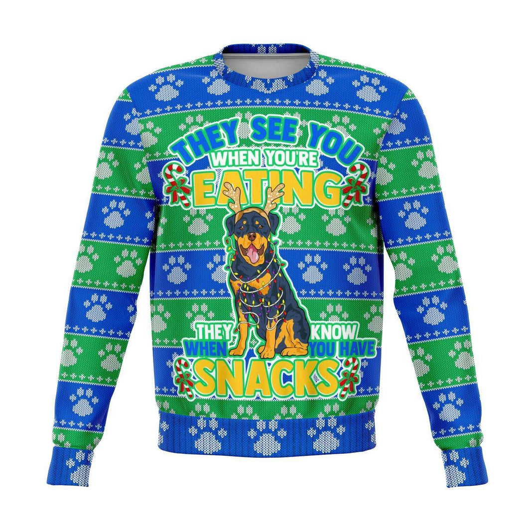 Designs by MyUtopia Shout Out:They See You When You're Eating Snacks Rottweiler - 3D Ugly Christmas Holiday Fashion Sweatshirt,XS / Multi,Fashion Sweatshirt - AOP