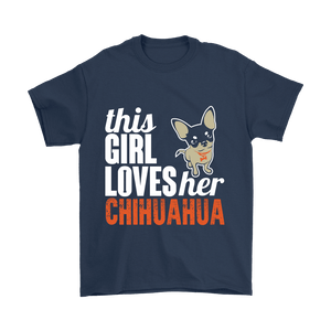 Designs by MyUtopia Shout Out:This Girl  Loves Her Chihuahua,Gildan Mens T-Shirt / Navy / S,Adult Unisex T-Shirt