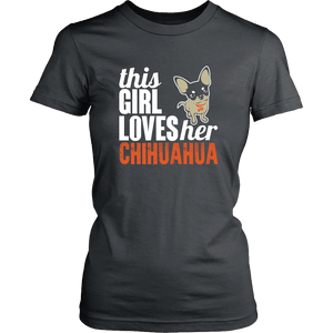 Designs by MyUtopia Shout Out:This Girl  Loves Her Chihuahua,District Womens Shirt / Charcoal / XS,Adult Unisex T-Shirt
