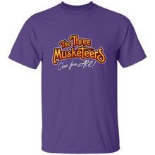 Load image into Gallery viewer, Designs by MyUtopia Shout Out:Three Musketeers #2 Unisex Cotton. T-Shirt,Purple / S,Adult Unisex T-Shirt