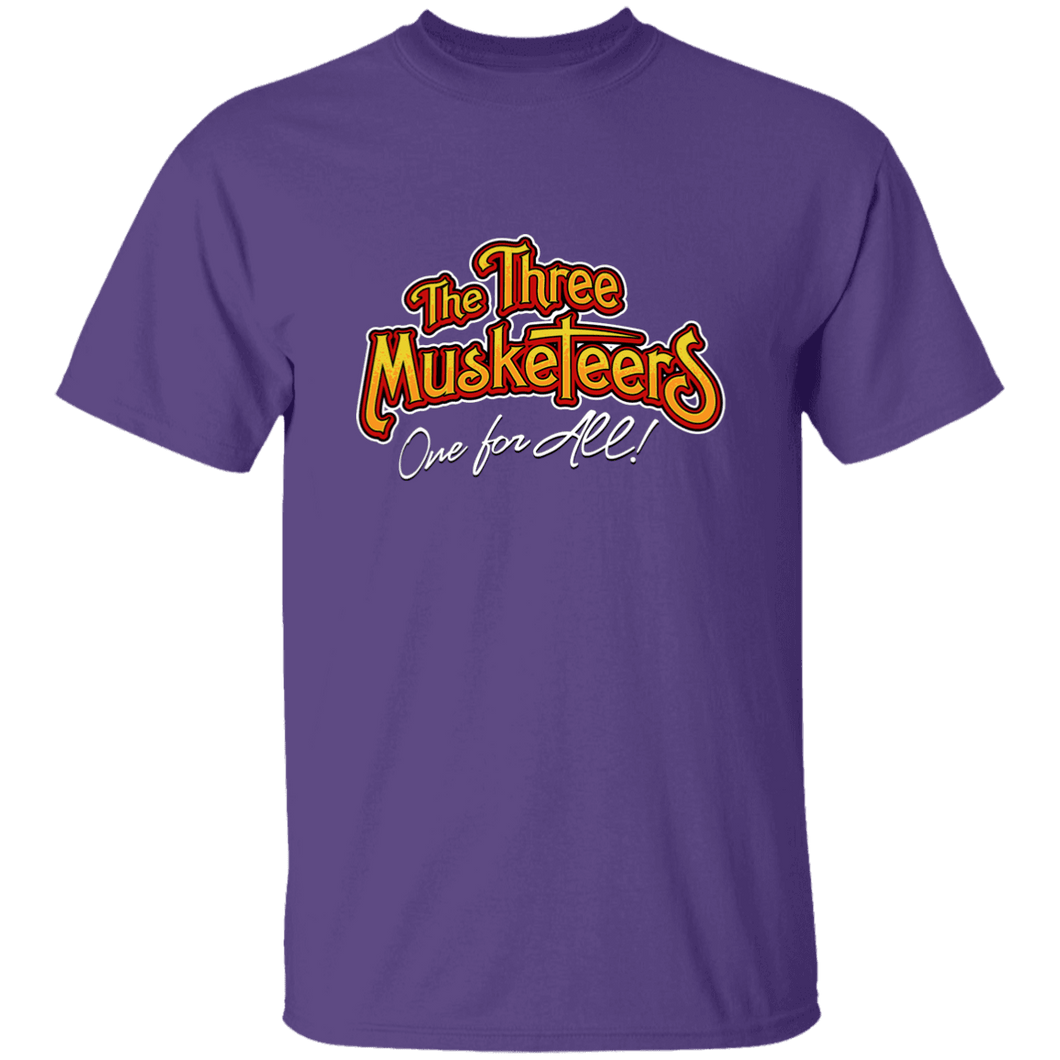 Designs by MyUtopia Shout Out:Three Musketeers #2 Unisex Cotton. T-Shirt,Purple / S,Adult Unisex T-Shirt