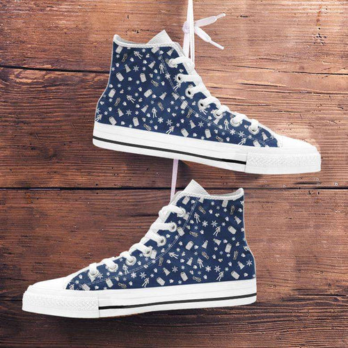 Designs by MyUtopia Shout Out:Timey Wimey Christmas All Over Print Canvas High Top Shoes