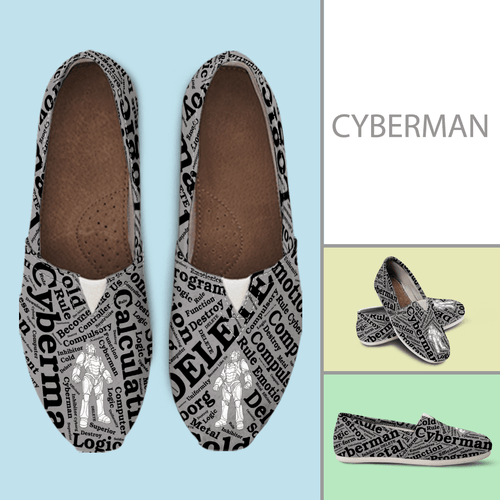 Designs by MyUtopia Shout Out:Timey Wimey Cyberman Casual Canvas Slip on Shoes Women's Flats,Ladies US6 (EU36) / Grey/Black,Slip on Flats