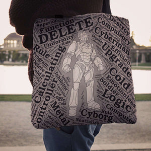 Designs by MyUtopia Shout Out:Timey Wimey Cyberman Fabric Totebag Reusable Shopping Tote