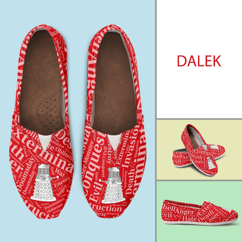 Designs by MyUtopia Shout Out:Timey Wimey Dalek Casual Canvas Slip on Shoes Women's Flats,Ladies US6 (EU36) / Red,Slip on Flats