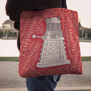 Designs by MyUtopia Shout Out:Timey Wimey Dalek Fabric Totebag Reusable Shopping Tote
