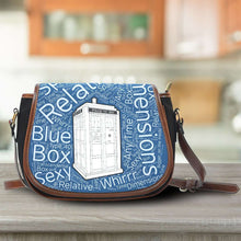 Load image into Gallery viewer, Designs by MyUtopia Shout Out:Timey Wimey Doctor Who Fan Canvas Saddlebag Style Crossbody Purse,Tardis,Cross-Body Purse