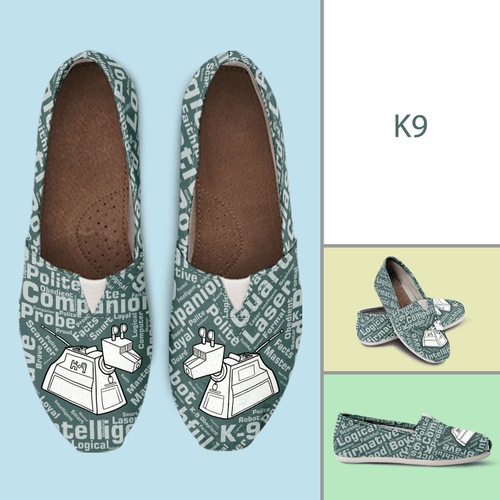 Designs by MyUtopia Shout Out:Timey Wimey K-9 Casual Canvas Slip on Shoes Women's Flats,Ladies US6 (EU36) / Green,Slip on Flats
