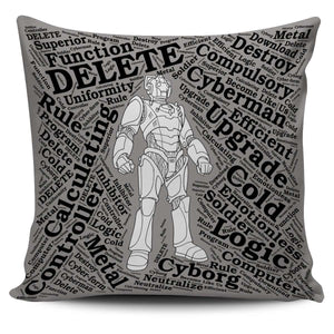 Designs by MyUtopia Shout Out:Timey Wimey Pillowcases,Cyberman / Grey,Pillowcases