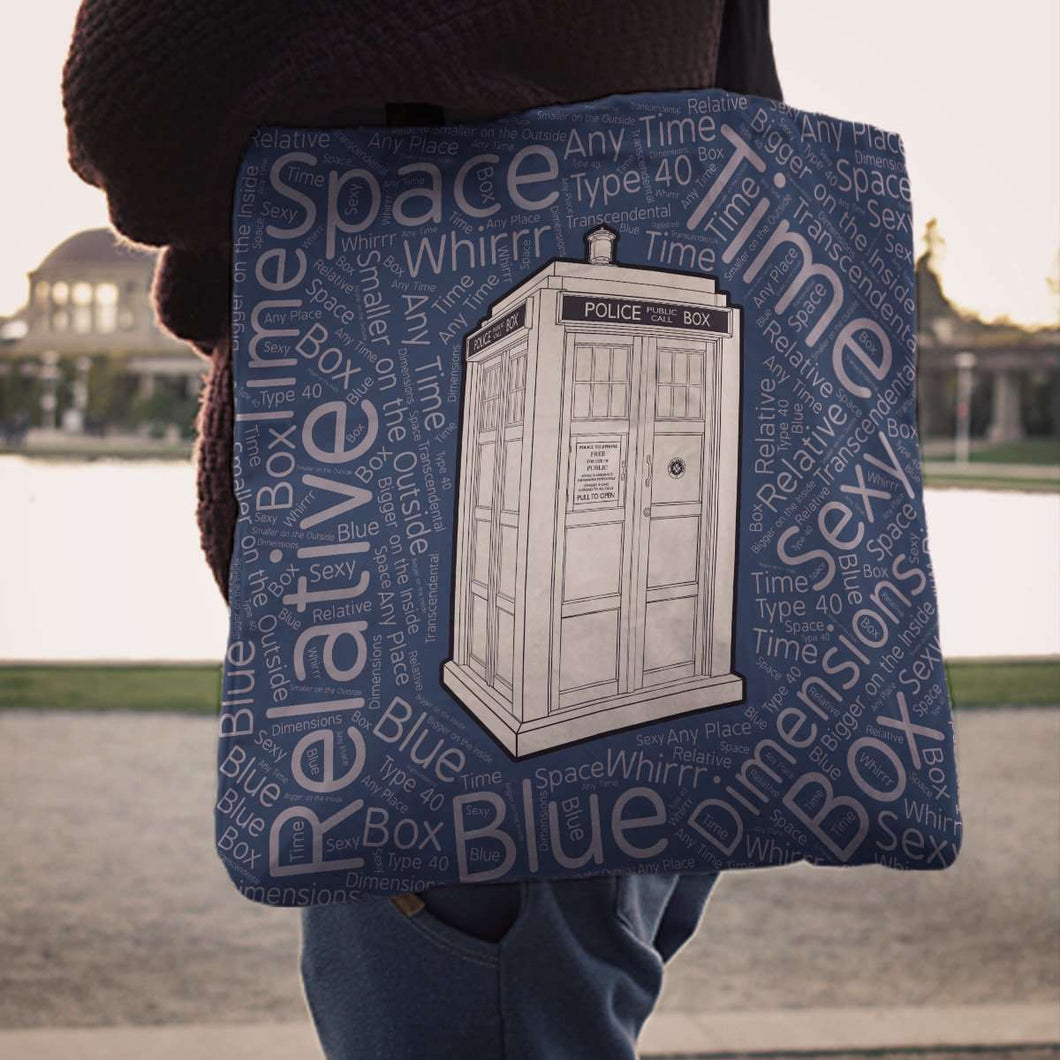 Designs by MyUtopia Shout Out:Timey Wimey T.A.R.D.I.S Fabric Totebag Reusable Shopping Tote