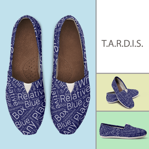 Designs by MyUtopia Shout Out:Timey Wimey TARDIS Terms Casual Canvas Slip on Shoes Women's Flats,Women's / Ladies US6 (EU36) / Blue,Slip on Flats