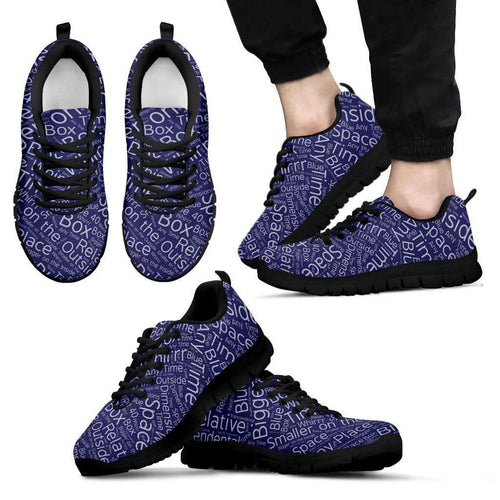 Designs by MyUtopia Shout Out:Timey Wimey TARDIS Terms v3 Running Shoes,Mens Black Sole Sneakers / Mens US5 (EU38) / Blue,Running Shoes