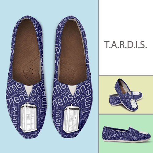 Designs by MyUtopia Shout Out:Timey Wimey TARDIS v2 Casual Canvas Slip on Shoes Women's Flats,Ladies US6 (EU36) / Blue,Slip on Flats