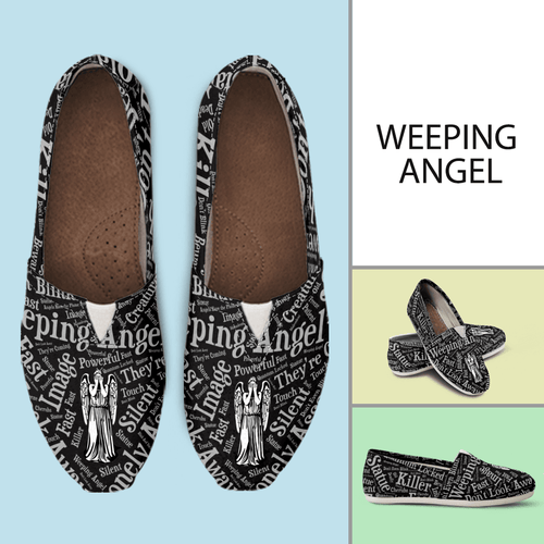 Designs by MyUtopia Shout Out:Timey Wimey Weeping Angel Casual Canvas Slip on Shoes Women's Flats,Ladies US6 (EU36) / Black,Slip on Flats