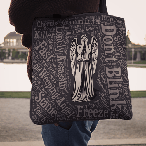 Designs by MyUtopia Shout Out:Timey Wimey Weeping Angel Fabric Totebag Reusable Shopping Tote