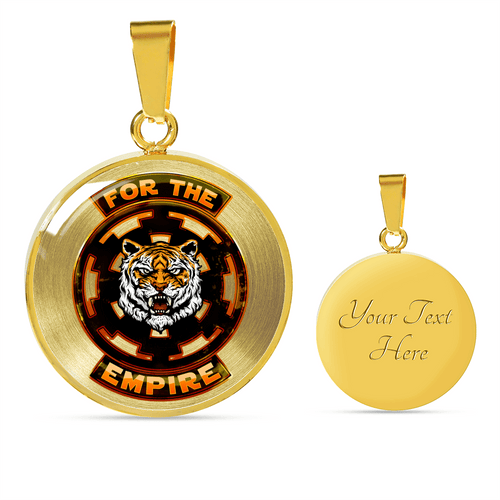 Designs by MyUtopia Shout Out:TK-Tiger Imperial Cog Liquid Glass Engravable Personalized Keepsake Necklace,Gold / Yes,Necklace