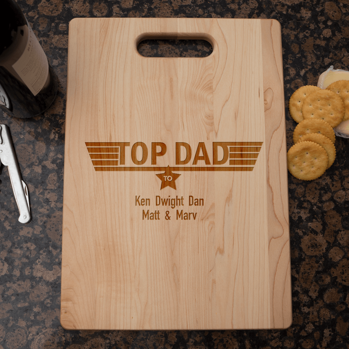 Designs by MyUtopia Shout Out:Top Dad Personalized with Kids Names Engraved Maple Cutting Board
