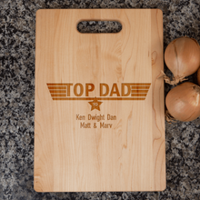 Load image into Gallery viewer, Designs by MyUtopia Shout Out:Top Dad Personalized with Kids Names Engraved Maple Cutting Board,🌟  Best Value 9 3/4″ X 13.5″,Cutting Board