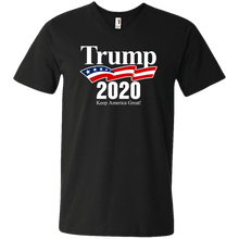Load image into Gallery viewer, Designs by MyUtopia Shout Out:Trump 2020 Keep America Great Men's Printed V-Neck T-Shirt,S / Black,Adult Unisex Vneck Tee