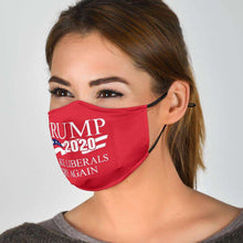 Load image into Gallery viewer, Designs by MyUtopia Shout Out:Trump 2020 Make Liberals Cry Again Adult Fabric Face Mask with Elastic Ear Loops