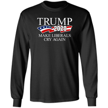 Load image into Gallery viewer, Designs by MyUtopia Shout Out:Trump 2020 Make Liberals Cry Again Long Sleeve Ultra Cotton T-Shirt,S / Black,Long Sleeve T-Shirts