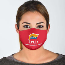 Load image into Gallery viewer, Designs by MyUtopia Shout Out:Trump Elephant Keeping America Great Adult Fabric Face Mask with Elastic Ear Loops