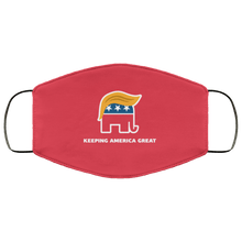 Load image into Gallery viewer, Designs by MyUtopia Shout Out:Trump Elephant Keeping America Great Adult Fabric Face Mask with Elastic Ear Loops,3 Layer Fabric Face Mask / Red / Adult,Fabric Face Mask