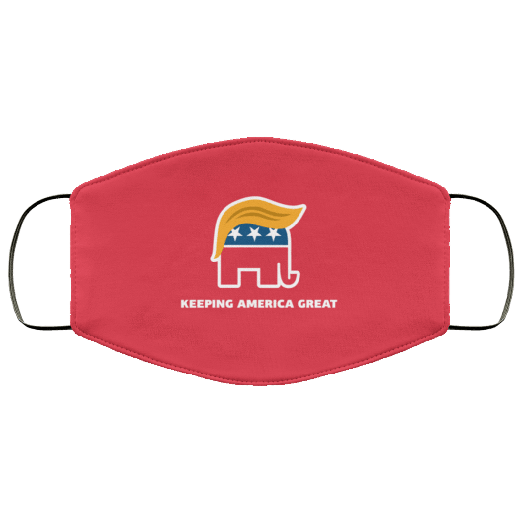 Designs by MyUtopia Shout Out:Trump Elephant Keeping America Great Adult Fabric Face Mask with Elastic Ear Loops,3 Layer Fabric Face Mask / Red / Adult,Fabric Face Mask